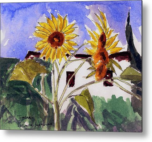 Watercolors Metal Print featuring the painting La Romita Sunflowers by Tom Herrin