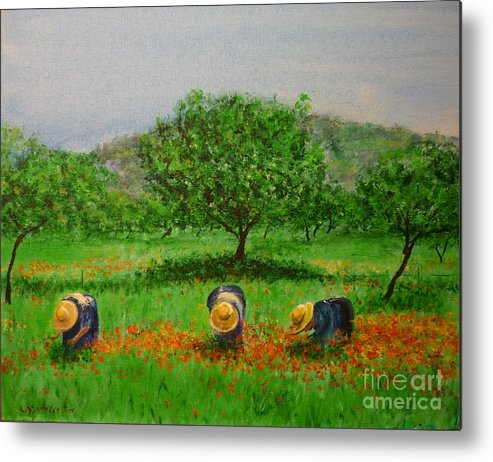 Club Diario De Ibiza Metal Print featuring the painting Ladies In Poppy Fields Ibiza by Lizzy Forrester