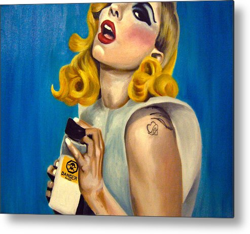 Fan Art Metal Print featuring the painting Lady Gaga Commission by Emily Jones