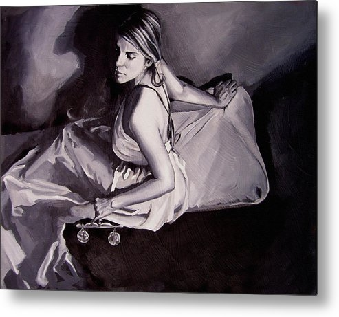 Law Art Metal Print featuring the painting Lady Justice Black And White by Laura Pierre-Louis