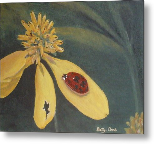 Flowers Metal Print featuring the painting Ladybug by Betty-Anne McDonald