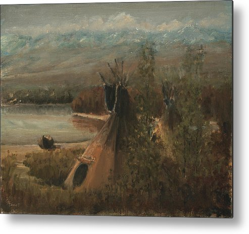 Indian Metal Print featuring the painting Lake Camp by Donald Darst