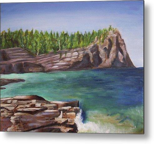 Seascape Metal Print featuring the painting Lake Huron by Silvia Philippsohn