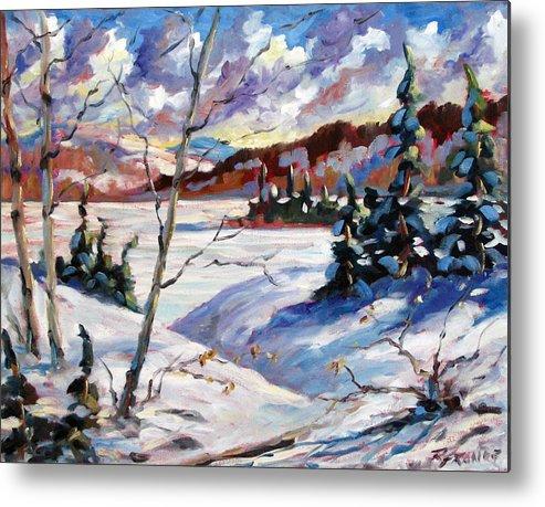 Lake Metal Print featuring the painting Lake In Winter by Richard T Pranke