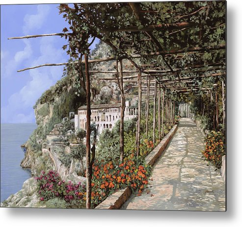 Landscape Metal Print featuring the painting L'albergo Dei Cappuccini-costiera Amalfitana by Guido Borelli