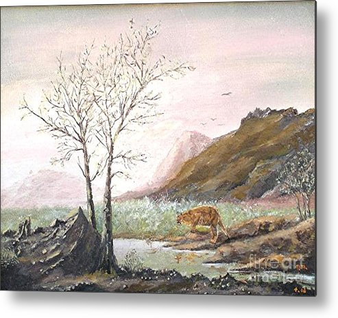 Landscape With Mountain Lion Metal Print featuring the painting Landscape With Mountain Lion by Nicholas Minniti
