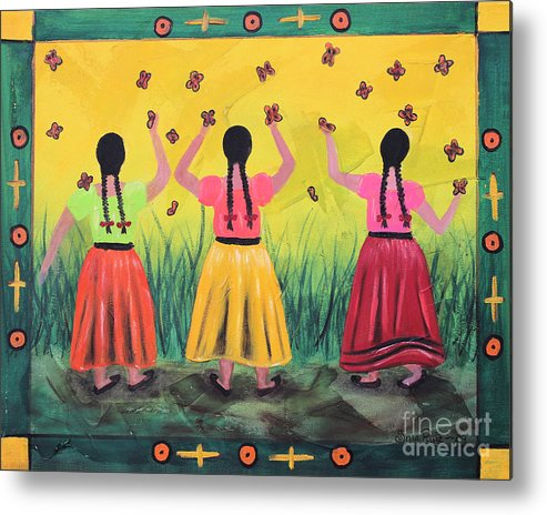 Mexican Art Metal Print featuring the painting Las Monarcas by Sonia Flores Ruiz