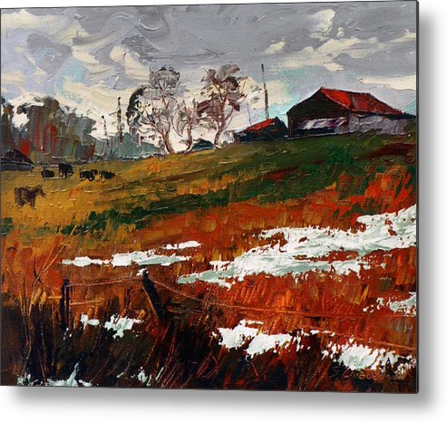 Oil Metal Print featuring the painting Last Patches Of Snow by Sergey Zhiboedov
