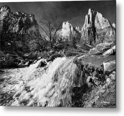 Mountains Metal Print featuring the photograph Late Afternoon At The Court Of The Patriarchs - Bw by Christopher Holmes