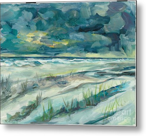 Beach Metal Print featuring the painting Late Evening Storm In Destin by Linda Vespasian