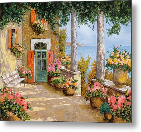 Terrace Metal Print featuring the painting Le Colonne Sulla Terrazza by Guido Borelli