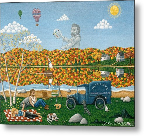Folk Art Metal Print featuring the painting Leaf Peeping In Northern Maine by Joshua Mac Allistar