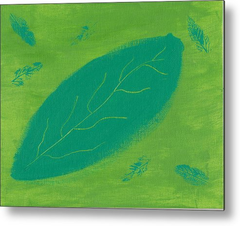 Leaf Metal Print featuring the painting Leaf by Susan Rice