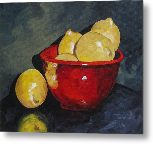 Red Bowl Metal Print featuring the painting Lemons And Red Bowl IIi by Torrie Smiley