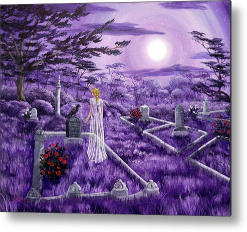 Moon Metal Print featuring the painting Lenore In Lavender Moonlight by Laura Iverson