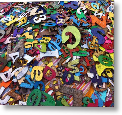 Letter Metal Print featuring the photograph Letters And Numbers by Art Block Collections