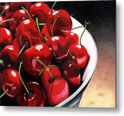 Cherries Metal Print featuring the painting Life Is.... by Angela Armano