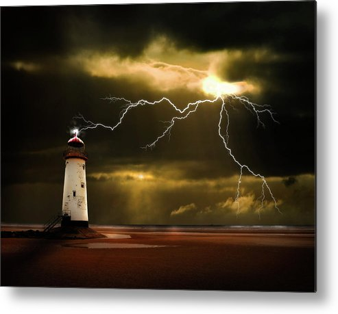 Lighthouse Metal Print featuring the photograph Lightning Storm by Meirion Matthias