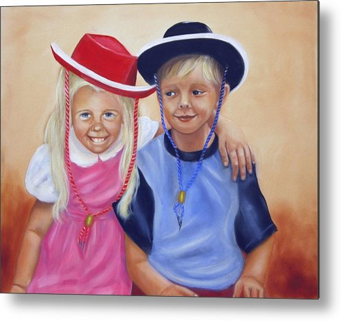 Child Metal Print featuring the painting Lil Pardners by Joni McPherson