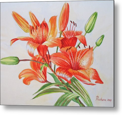 Floral Metal Print featuring the painting Lilies.2007 by Natalia Piacheva