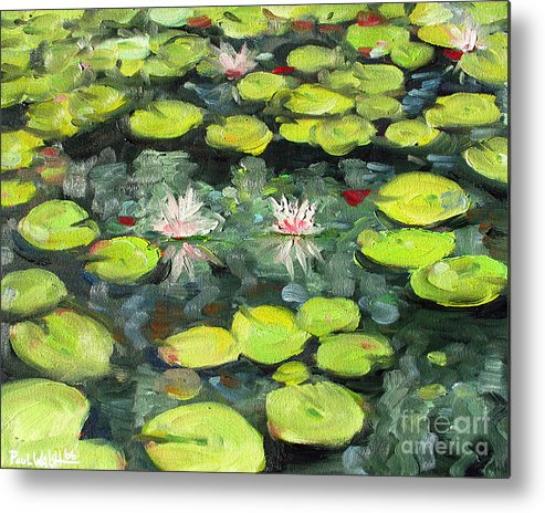 Pond Metal Print featuring the painting Lily Pond by Paul Walsh