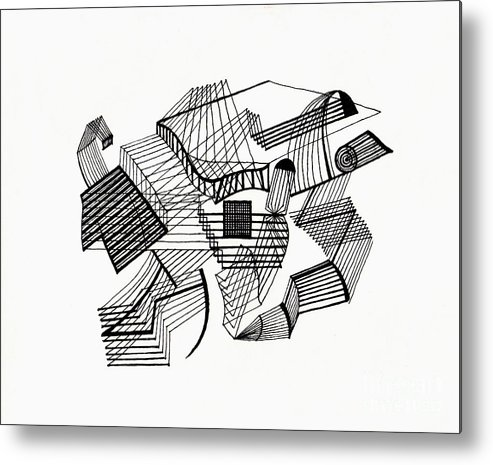 Line Metal Print featuring the drawing Lines by Andy Mercer