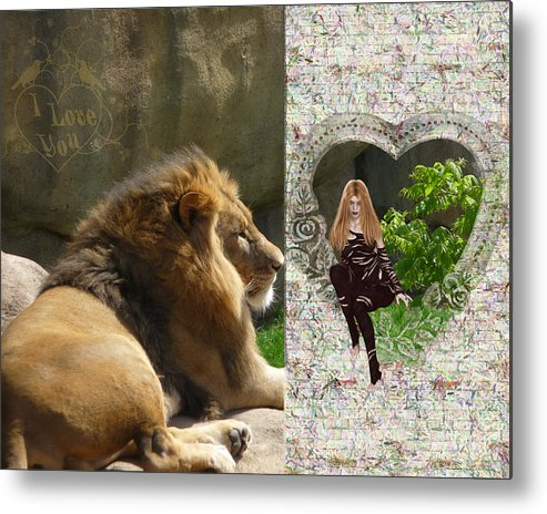 Lion Metal Print featuring the photograph Lion Love by RiaL Treasures