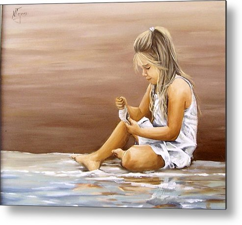 Children Girl Sea Shell Seascape Water Portrait Figurative Metal Print featuring the painting Little Girl With Sea Shell by Natalia Tejera