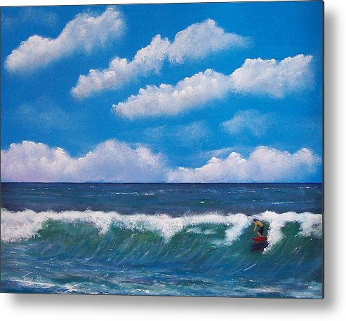 Seascape Metal Print featuring the painting Lone Surfer by Tony Rodriguez
