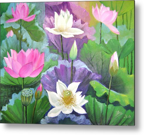 Gardens Metal Print featuring the painting Lotus Trio by Lian Zhen