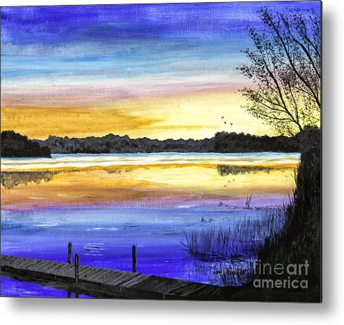 Timothy Hacker Metal Print featuring the painting Ludington Sunrise Painting by Timothy Hacker