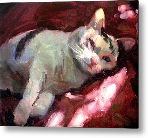 Cat Metal Print featuring the painting Luna In The Sun by Merle Keller