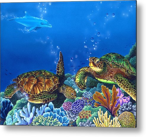 Turtles Metal Print featuring the painting Lunchtime by Angie Hamlin