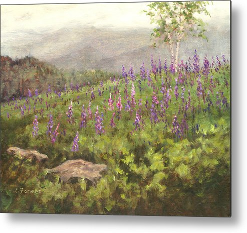 Sugar Hill Metal Print featuring the painting Lupine In Fog, Sugar Hill, Nh by Elaine Farmer