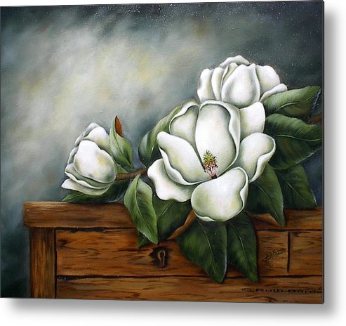 Floral Metal Print featuring the painting Magnolia On A Chest by Ruth Bares
