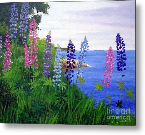 Wildflowers Metal Print featuring the painting Maine Bay Lupine Flowers by Laura Tasheiko