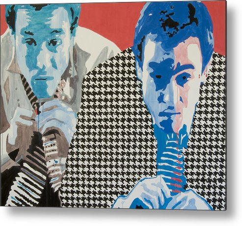 Portrait Metal Print featuring the painting Man In A Houndstooth Suit by Pete Nawara