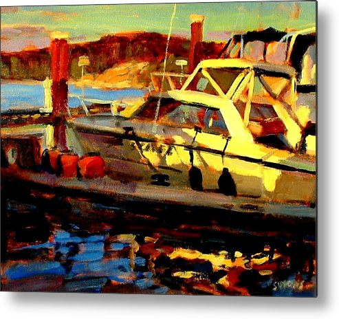 Boat Paintings Metal Print featuring the painting Marina Sunset by Brian Simons