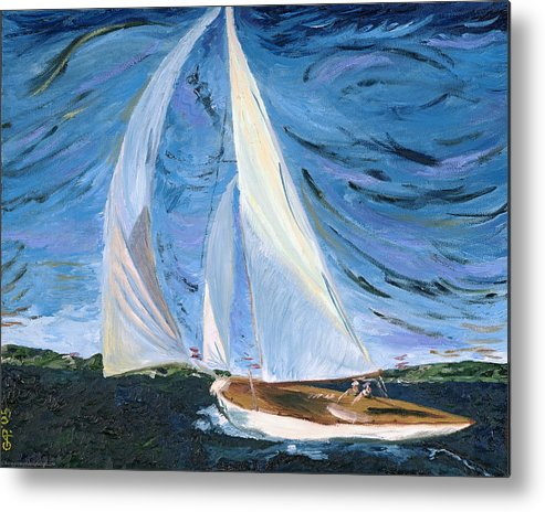 Sailboat Metal Print featuring the painting Marriage by Gregory Allen Page
