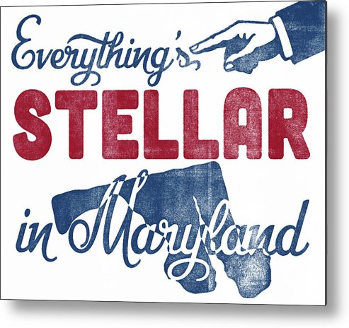 Maryland Poster Metal Print featuring the digital art Maryland Poster - Funny Stellar by Flo Karp