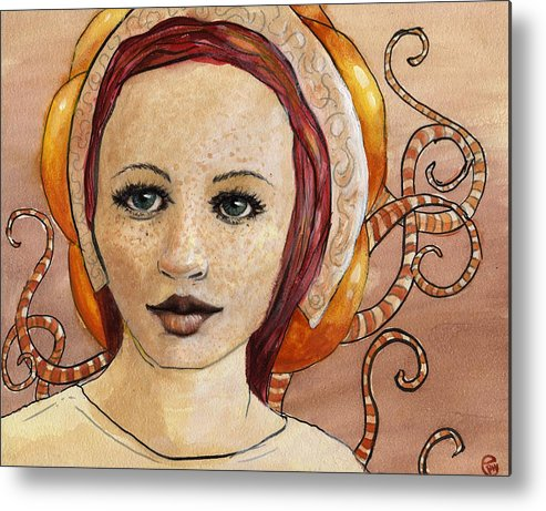 Woman Metal Print featuring the painting Mascara by Ethan Harris