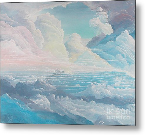 Cloudscape Metal Print featuring the painting May Colored Clouds by John Wise