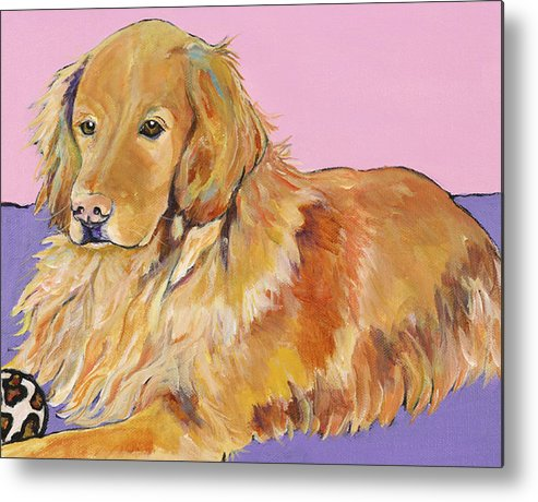 Golden Retriever Metal Print featuring the painting Maya by Pat Saunders-White