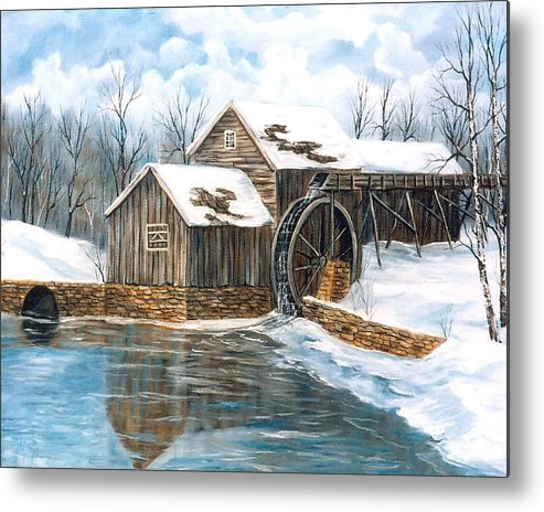 Painting Landscape Metal Print featuring the painting Maybry Mill by Marveta Foutch