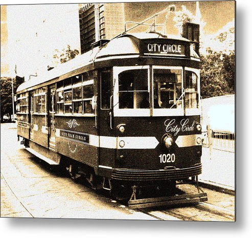 Sepia Metal Print featuring the photograph Melbourne Tram by Darren Stein