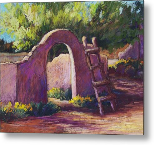 Landscape Metal Print featuring the pastel Mesilla Archway by Candy Mayer