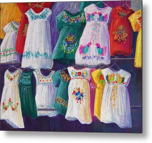 Dresses Metal Print featuring the pastel Mexican Dresses by Candy Mayer