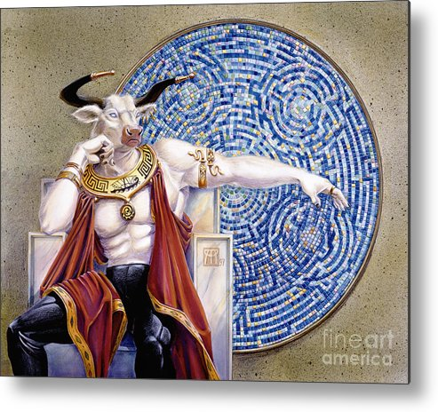 Anthropomorphic Metal Print featuring the painting Minotaur With Mosaic by Melissa A Benson