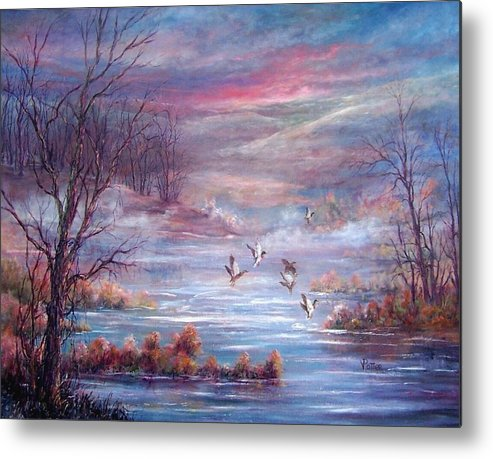 Morning Mist Metal Print featuring the painting Misty Morning Flight by Virginia Potter
