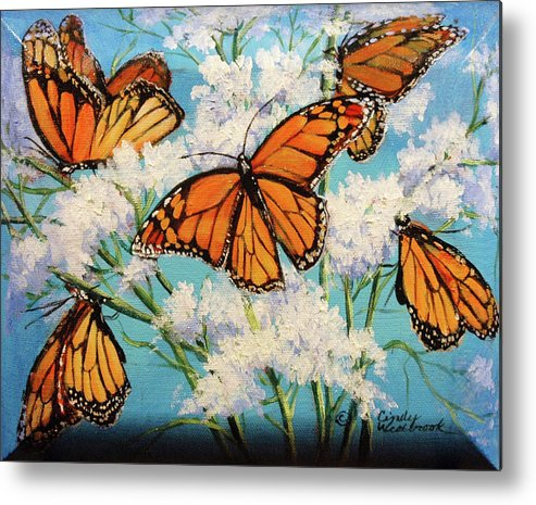 Artwork Metal Print featuring the painting Monarchs by Cynthia Westbrook